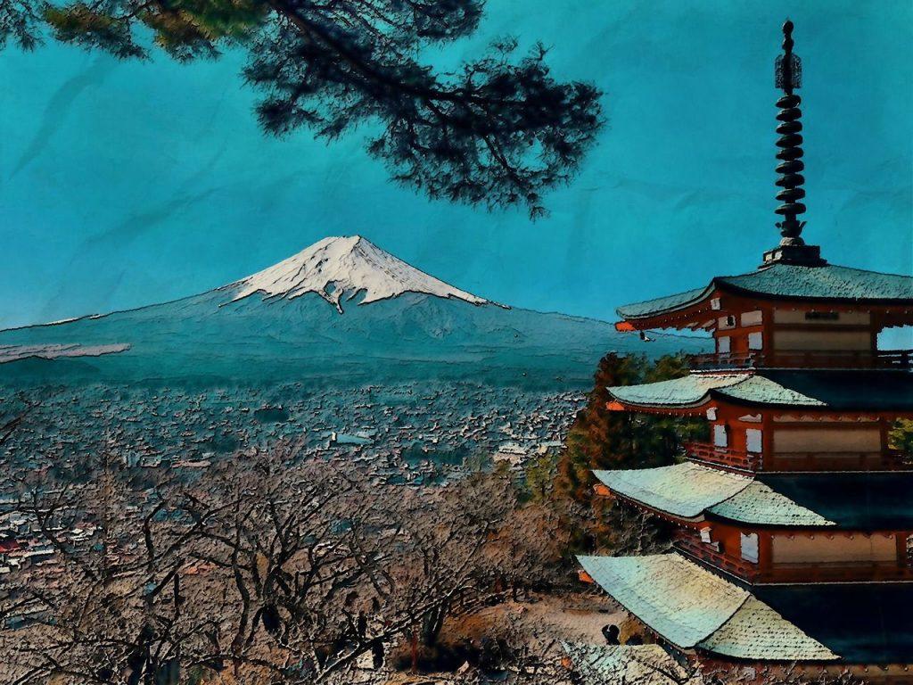 pagode avec vue sur le mont fuji