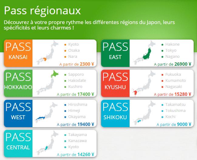 Le JR Pass par régions
