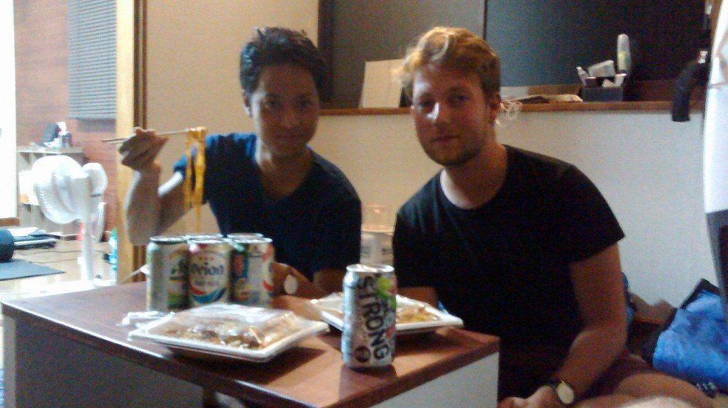 Rencontre avec notre hôte à Kawaminami